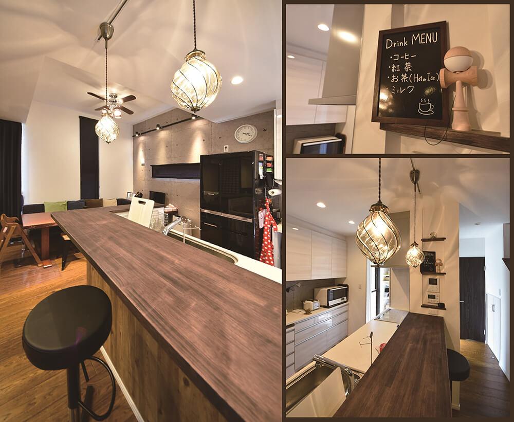 カフェスタイルのキッチンカウンター