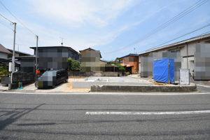 広島市佐伯区利松1丁目の注文住宅A現場を前面道から撮影2018.06.24