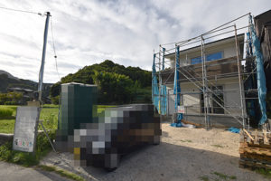 広島市佐伯区利松注文住宅C現場の様子を前面道路から撮影2018.0827