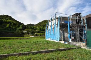 広島市佐伯区利松注文住宅C現場の様子を南から撮影2018.0827